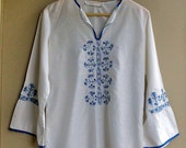 SALE 1970's Blue Embroidered White Blouse