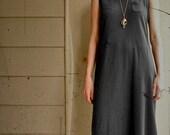 SALE Vintage Long Black Jersey- Oversized- Boho- Maxi Dres