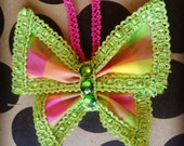 Butterfly Clip - Lime Green, Hot Pink