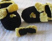 Bumblebees And Bow Slippers, With Fashion Hairclip.