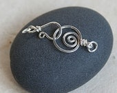 Handmade Sterling Silver Clasp with Spiral Design And Jump Rings (1 pair clasp and hook) 14mm Hand Forged Spiral