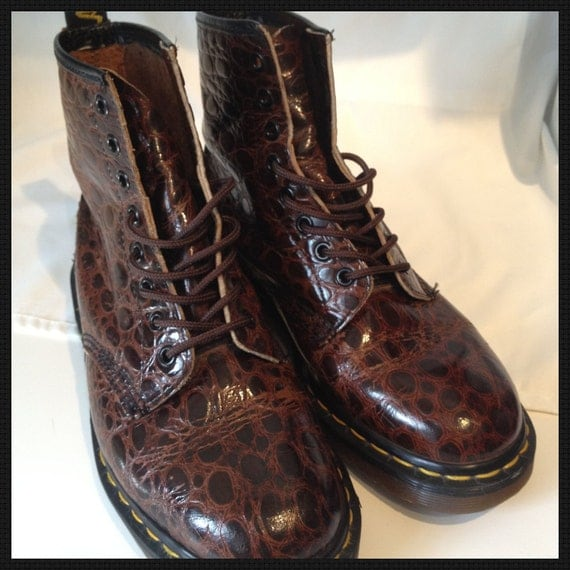Dr. Martens Brown Patent Leather Moc Crocodile Boots -  Made in England