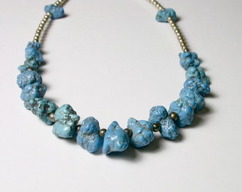 Vintage Turquoise Chunk Necklace - Blue Turquoise and Sterling Silver Necklace # 165
