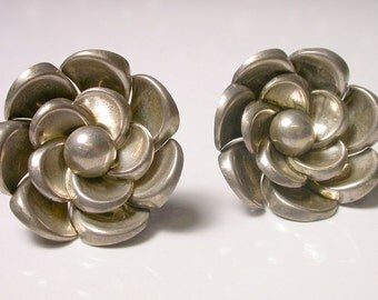 Marcel Boucher Flower Earrings - Vintage Silver Screw Back Earrings - Rose Earrings - Floral - Reduced # 412