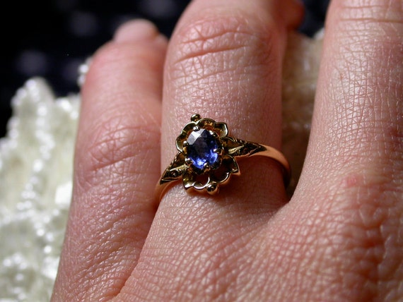 Reserved 14k Yellow Gold Sapphire Ring - Size 6 1/2