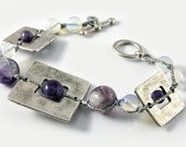 Handmade Ancient Greek design bracelet, made by brass, pewter, silver plated with semi-precious beads