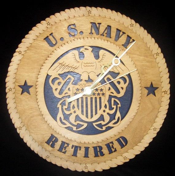 Navy Laser Cut Decorative Wall Clock - large