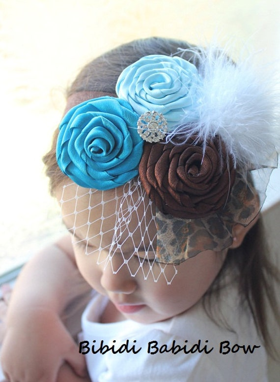 Baby girl headband- turquoise blue, brown, leopard headband.. photography prop - handcrafted headband - toddlers and girlsheadband