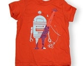 Save the Bear (Robots Vs. Aliens) Orange Limited Edition Bright Orange Girls Boys T-Shirt