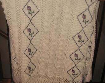 Purple rosebud tuscan stitch