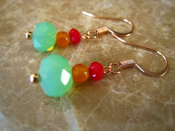 SALE Aqua Mustard Yellow Red Beads Earrings Gold Plated Hook