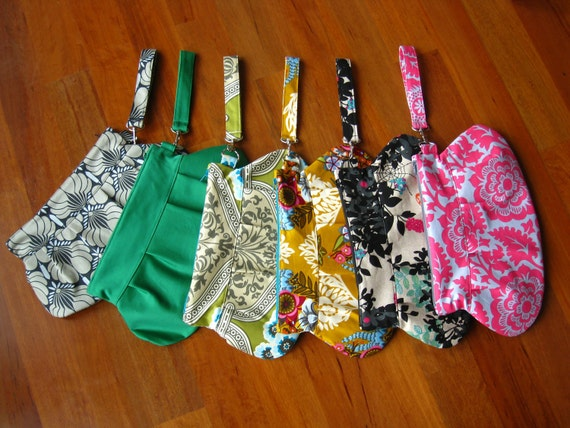 Green Black Yellow Pink Gray Spring Summer Wristlet Clutch Purse 3 -6 Pockets Key Fob -Made to Order