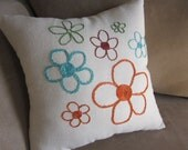 Hand Embroidered Flower Pillow - Punch of Color Flowers on Pillow - READY to SHIP