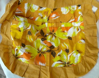 Vintage Cotton Tropical Print Apron, Gold, Orange and Yellow, 1970s