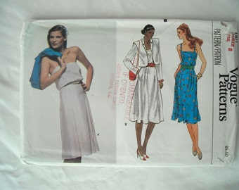 Vintage Vogue Sundress with Short Jacket Pattern 7601, With or Without Straps, 1980s