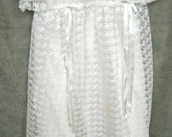 Beautiful Vintage Baby Christening Dress, All Lace with Satin Under Dress, Handmade