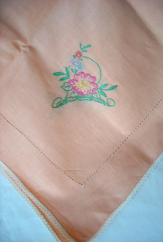 Vintage Cotton Peach Salmon Colored Luncheon Tablecloth with Napkins Shabby Cottage Chic