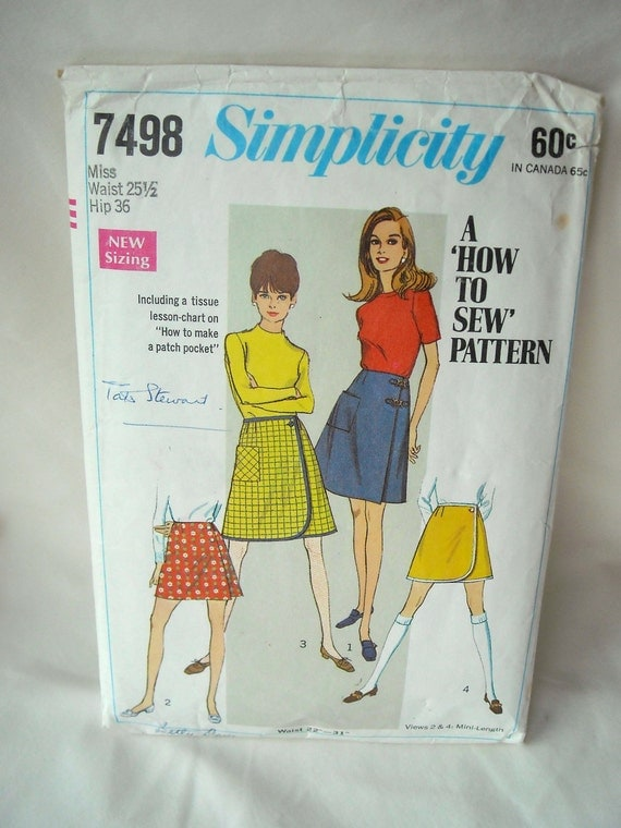 Vintage Front Wrap Skirt Pattern with Shorts, Simplicity 7498, Mini-Length, Mod Design, 1960s