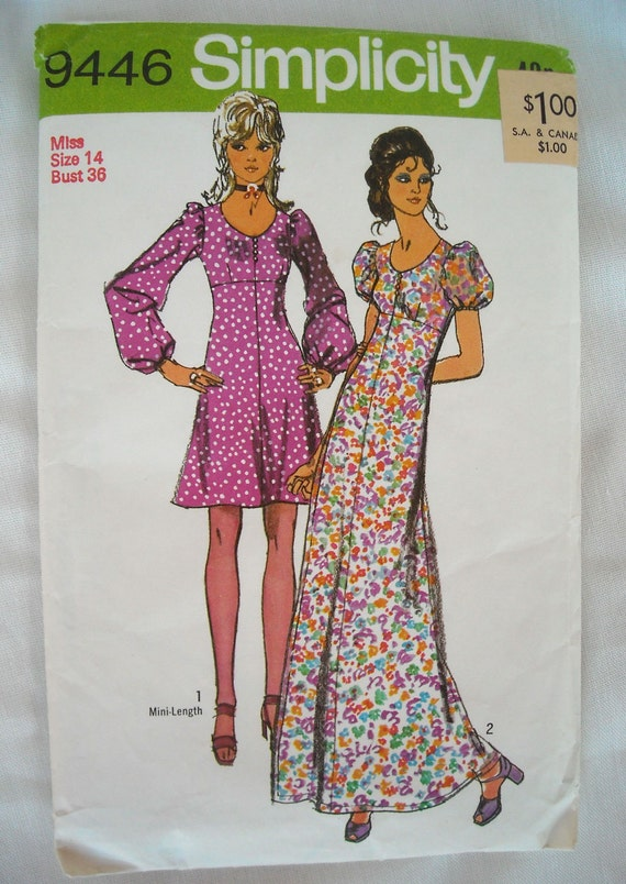Vintage 1970s Dress Pattern, Simplicity 9446, Mini or Maxi, Hip Chick