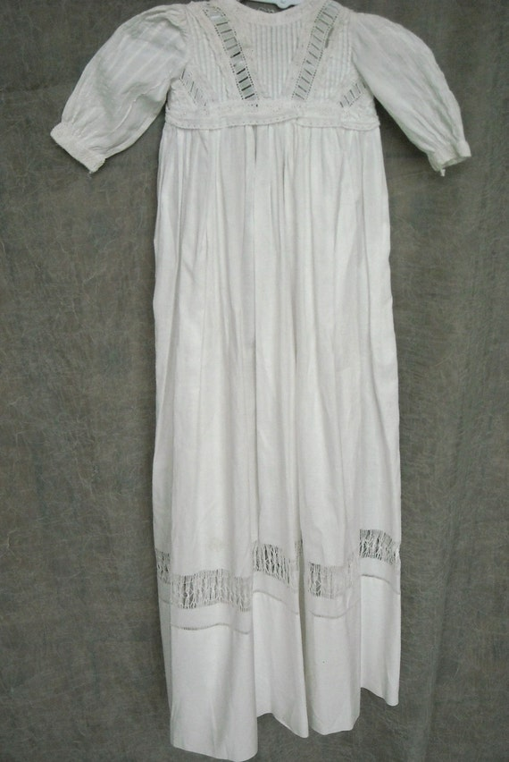 Vintage Baby Long Christening Gown, White Cotton and Eyelet, Edwardian, Precious