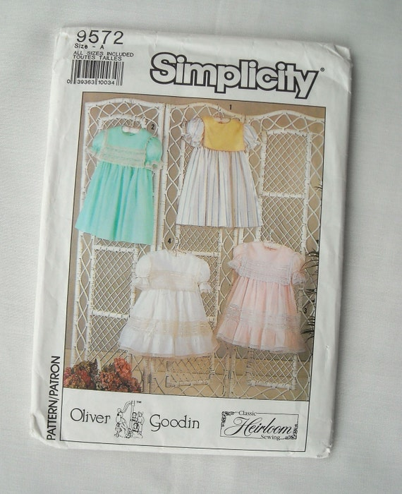 Oliver Goodin Child's Dress Pattern, Simplicity 9572, Classic Heirloom Sewing, Lacey and Ruffled