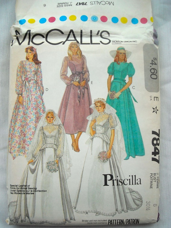 Vintage Wedding Dress Pattern, McCalls 7847, Priscilla Pattern, Fitted Bodice, Uncut, Size 6, 1980s