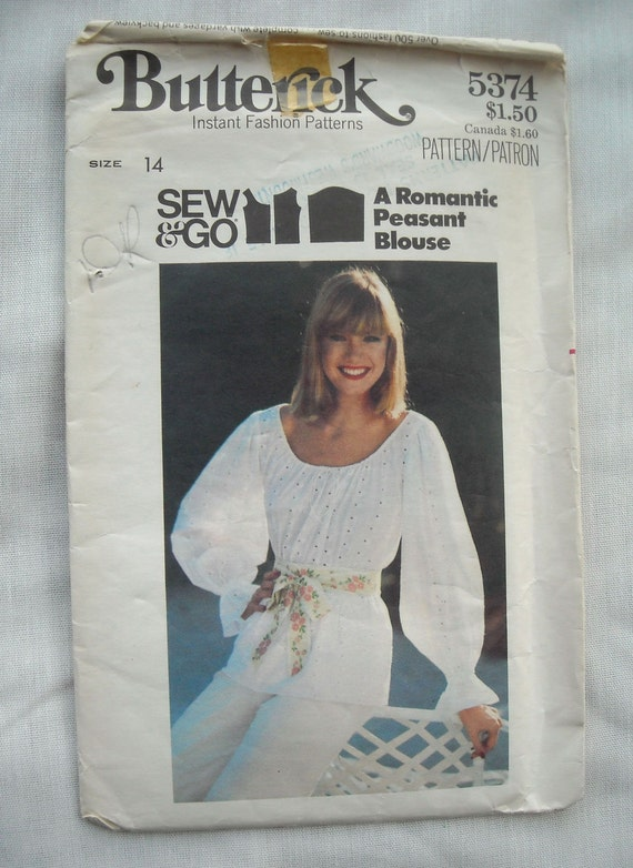 Vintage Romantic Peasant Blouse Pattern, Butterick 5374, Boho Chic, 1970s