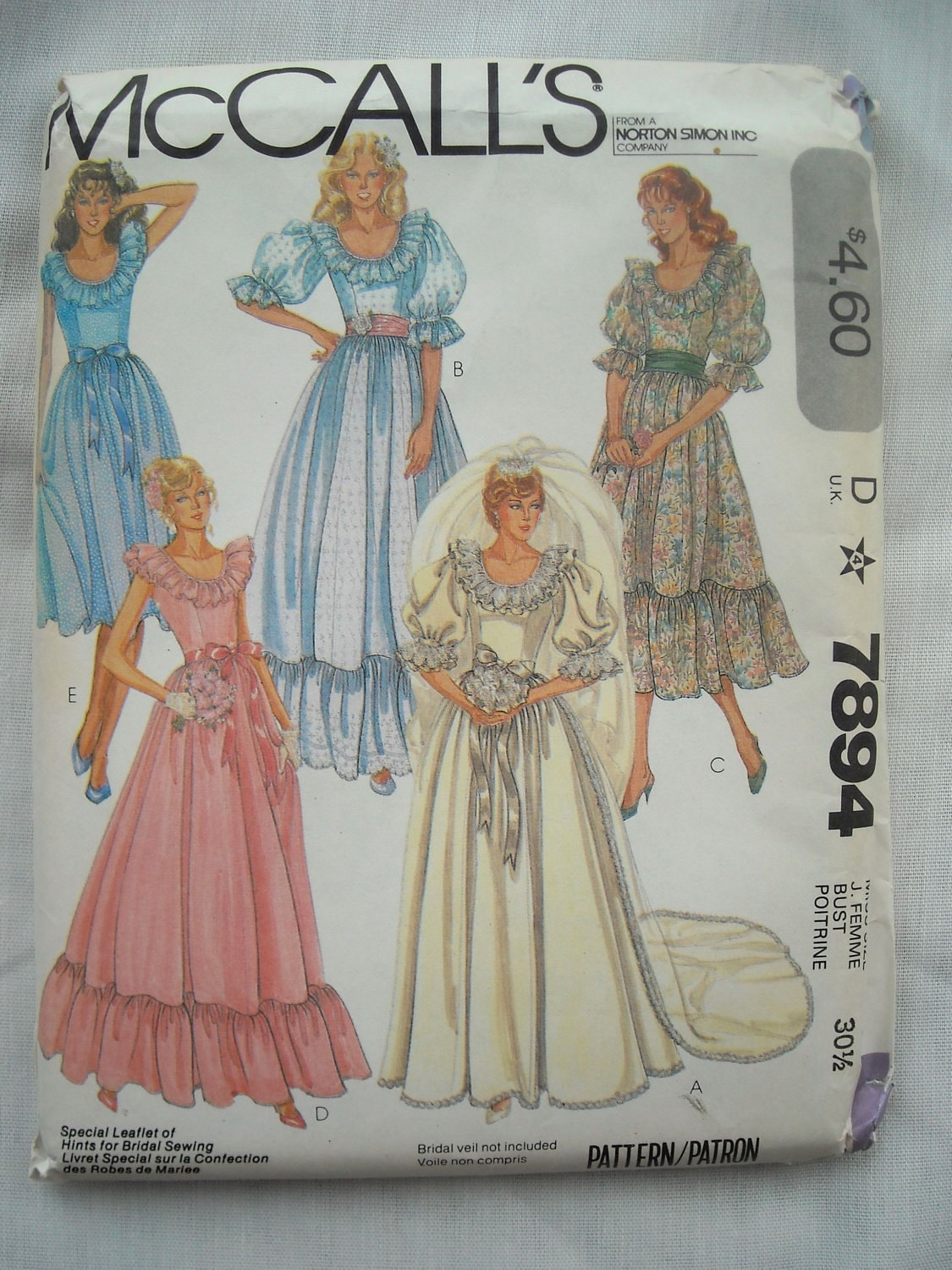 Vintage wedding dress pattern mccalls 7894 princess diana for Wedding dress patterns vintage