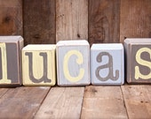 CHILD'S RUSTIC NAME- hand painted wood blocks