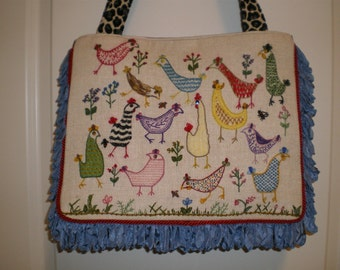 SALE Vintage embroidered/crewel linen handbag with chickens