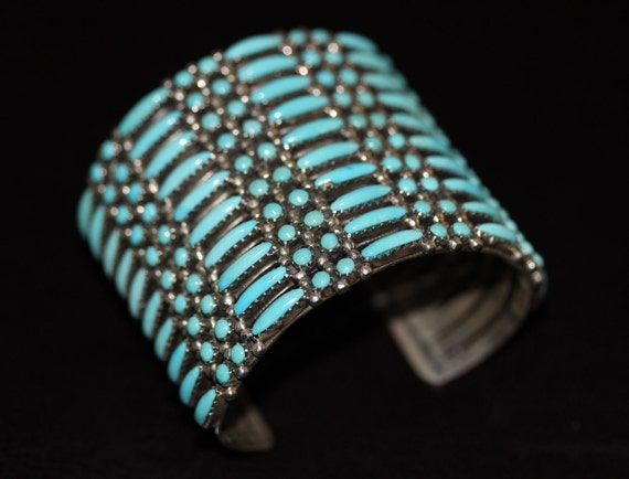 Turquoise Silver Hand Crafted Cuff, Stamped JM Sterling