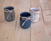 Set of 3 pencil cups - rustic style - made in France