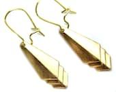 Vintage Brass Geometric Diamond Aztec Tribal Modern Earrings Drop Chevron Arrow Boho Chic