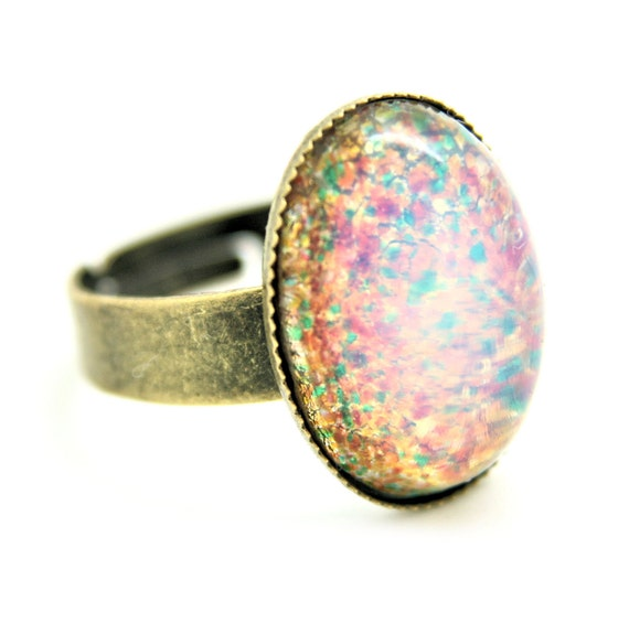 Items Similar To Opal Ring Exquisite Braided Opal: Items Similar To SPARKLING Fire OPAL Stone Setting Bronze