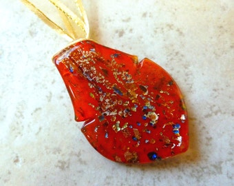 Red Lampworked Glass Pendant on Metallic Gold Ribbon