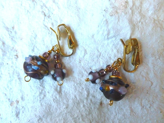 SALE Unique Clip Earrings with Dangles of Unusual Purple Beads