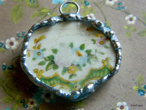 Sweet Country Chic Broken china Pendant Vintage Floral Solder Framed