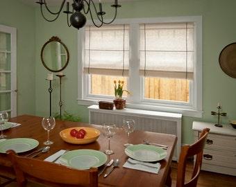 EcoRoman Cordless Window Shade, Natural w/ Bracing Detail
