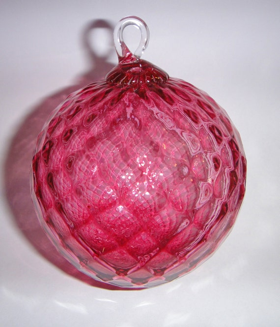 Cranberry Glass Diamond Faceted Ornament