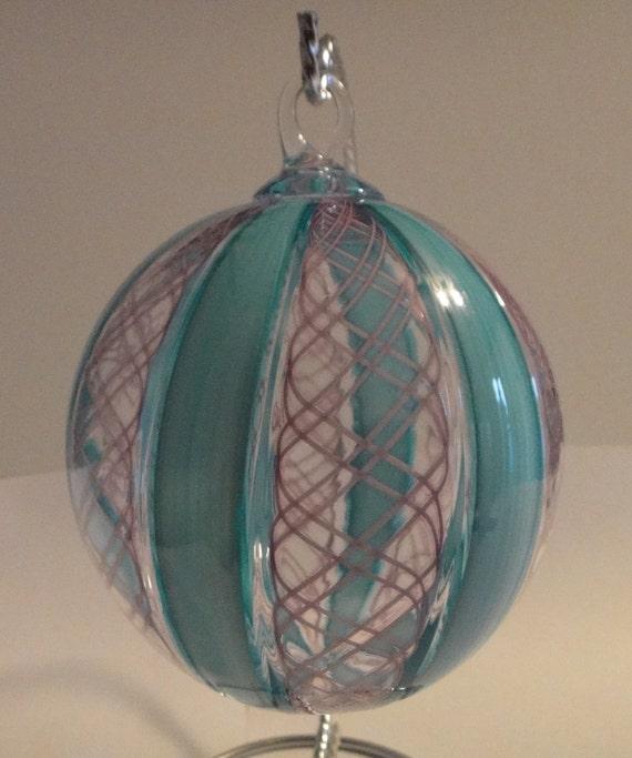 Aqua and Ruby Zanfirico Ornament