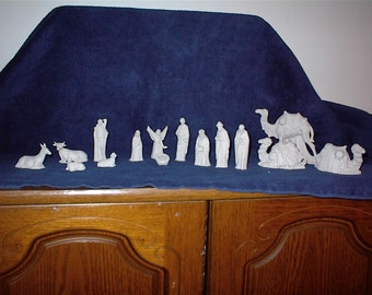 Small Riverview 15-Piece Ceramic Bisque Nativity
