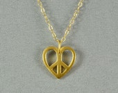 Heart and Peace Sign Necklace, 24K Vermeil, 14K Gold Filled Chain, Modern, Simple, Pretty, Everyday Wear Jewelry