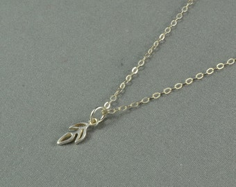 Openwork Sprout Necklace, 925 Sterling Silver,  Sparkle Chain, Modern, Simple, Delicate, Everyday Necklace