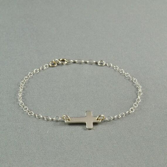Sideways Cross Bracelet, 925 Sterling Silver, Fashion, Simple, Pretty, Delicate, Everyday Wear Bracelet