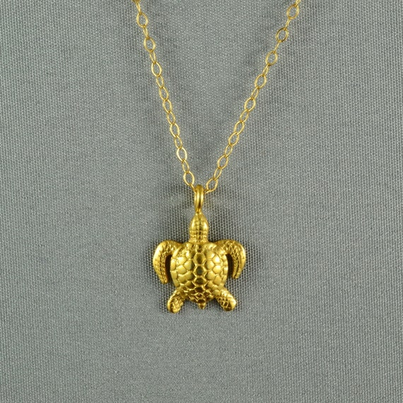 Vivid 3D Sea Turtle Necklace, 24K Gold Vermeil, 14K Gold Fill Chain, Modern, Simple, Cute, Everyday Wear Jewelry