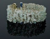 Crochet Wire Silver Cuff and Aquamarine Glass Chips Bracelet, Lace Crochet, Bridal Party Gifts