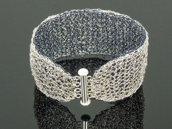 Crochet Wire Reversible Navy Blue and Silver Wide Cuff, Wire Lace Bracelet