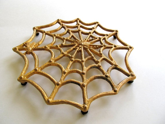 Rare Brass Spider Web Trivet with Spider and Fly