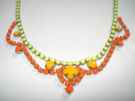 Exquisite Designer Inspired Neon Yellow, Neon Tangerine and Neon Orange Hand Painted Vintage Rhinestone Necklace