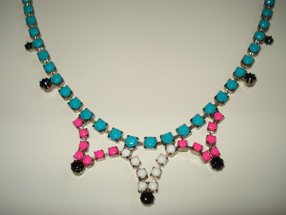 Tribal Inspired Neon Turquoise, Neon Pink, White and Black Hand Painted Vintage Rhinestone Necklace